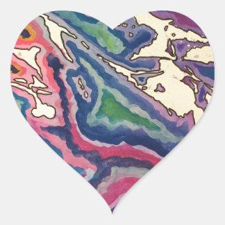 Topographische Seidenpapier-Kunst I Herz-Aufkleber