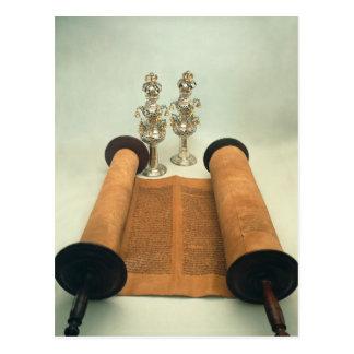 Torah Rolle mit silbernen Krone Finials Postkarten