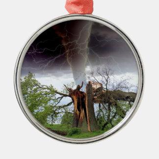 Tornado Rundes Silberfarbenes Ornament