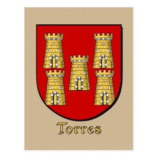 Torres Familien-heraldisches Schild Postkarte