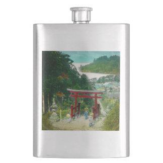 Torri über See Ashi 芦ノ湖 Japan Vintag Flachmann