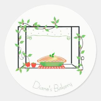 Torte im Fenster-Bäckerei-Aufkleber Runder Aufkleber