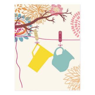Toskaner-Küche - Krug auf Blumen Postkarte