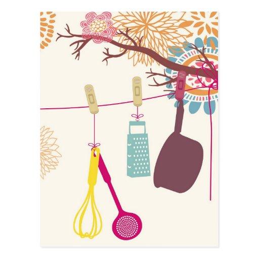 toskanische Küche - Geräte auf Blumen Postkarte