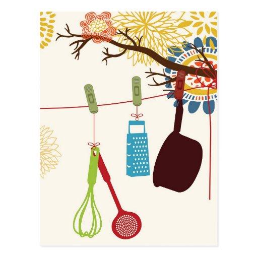 Toskanische Küche - Geräte auf Blumen Postkarten