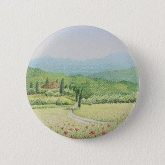 Toskanische Weinberge, Italien im PastellAbzeichen Runder Button 5,1 Cm