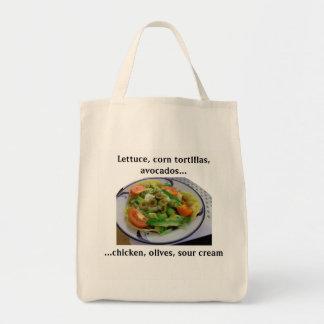 Tostada-Salat-Lebensmittelgeschäft-Liste Tragetasche
