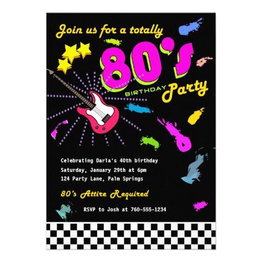 Total Achtzigerjahre Geburtstags-Party Einladungen