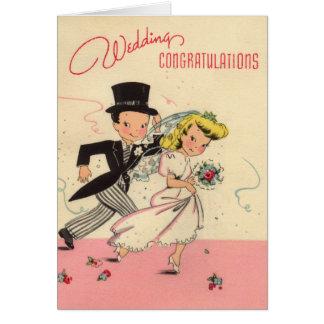 Total Retro Hochzeits-Glückwünsche Karte