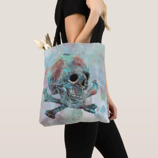 Totenkopf mit gekreuzter Knochen-Aquarell Tasche