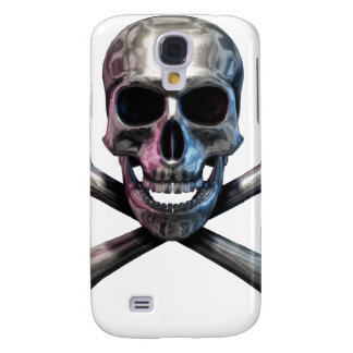 Totenkopf mit gekreuzter Knochen-Chrom Galaxy S4 Hülle