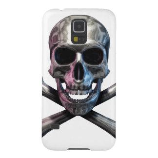 Totenkopf mit gekreuzter Knochen-Chrom Galaxy S5 Cover