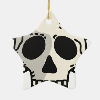 Totenkopf mit gekreuzter Knochen Keramik Ornament