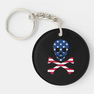 Totenkopf mit gekreuzter Knochen ~ patriotisch Schlüsselanhänger