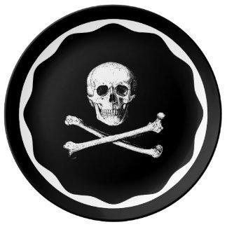 Totenkopf mit gekreuzter Knochenplatte Porzellanteller