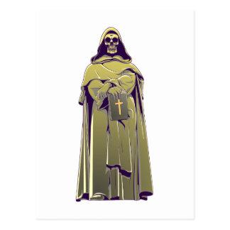 Totenkopf Schädel Mönch skull monk Postkarte