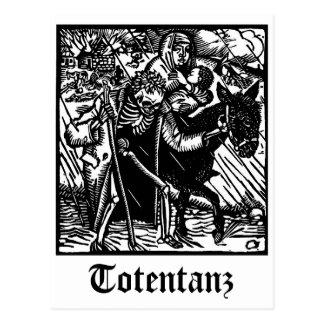 Totentanz Tod eskortiert eine Mutter- und Postkarte