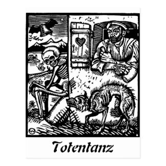 Totentanz Tod wartet Postkarte