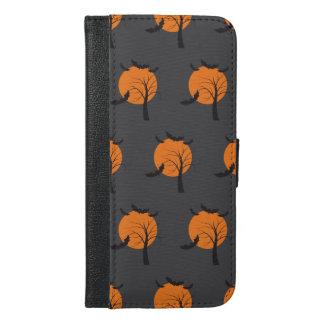 Toter Baum, orange Mond und Schläger Halloween iPhone 6/6s Plus Geldbeutel Hülle