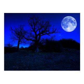 Toter Baum um Mitternacht mit glühendem Vollmond A Postkarte