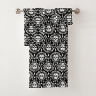 Toter Damast-schwarzer u. raffinierter Badhandtuch Set