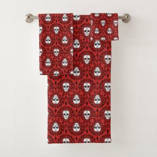 Toter Damast-schwarzes u. rotes Badhandtuch Set