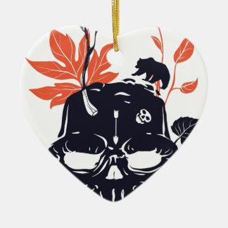 toter Schädel und Bär Keramik Herz-Ornament