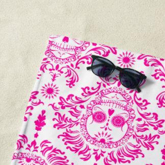Totes Damast-Pink-Zuckerschädel-Badetuch Strandtuch
