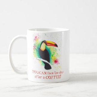 Toucan stellen den Tag nach einer Kaffee-Tasse Kaffeetasse