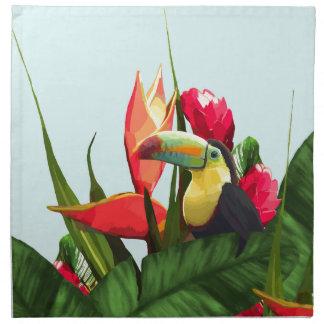 Toucan tropische Banane verlässt Blumenstrauß Stoffserviette