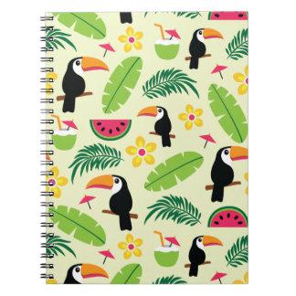 Toucan tropisches Sommer-Muster Spiral Notizblock