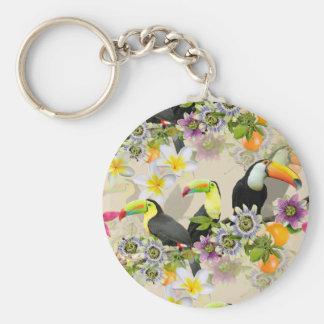 Toucan Vögel, Leidenschafts-Blumen, Plumeria Schlüsselanhänger