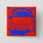 Trabant-Auto und rote/blaue Berliner Mauer Quadratischer Button 5,1 Cm