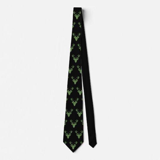 Trachtenkrawatte Landhausstil Hirschkopf Jägergrün Krawatte