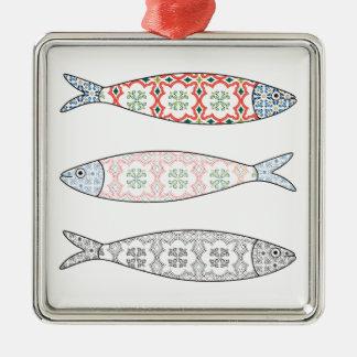 Traditional Portuguese icon. Colored sardines Silbernes Ornament