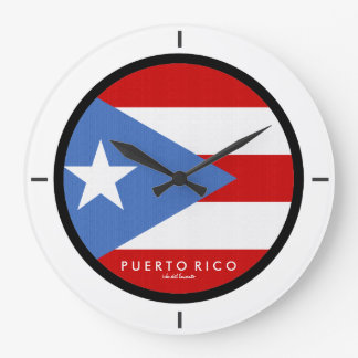 Traditionell, Flagge von Puerto Rico Große Wanduhr