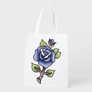 traditionelle blaue Rose Wiederverwendbare Einkaufstasche