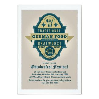 Traditionelle deutsche Nahrungsmitteleinladung 12,7 X 17,8 Cm Einladungskarte