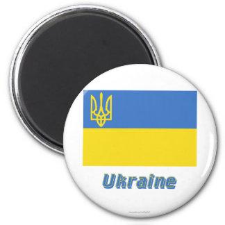 Traditionelle Flagge Ukraine mit Namen Runder Magnet 5,7 Cm