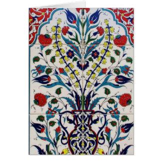Traditionelle islamische Blumenmusterfliesen Grußkarte