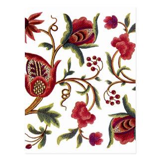 Traditionelle Jacobean Stickerei der Königin-Anne Postkarte