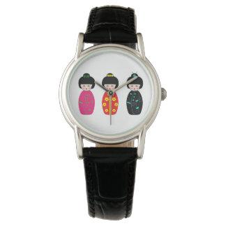 Traditionelle Japaner Kokeshi Geisha-Puppen Armbanduhr