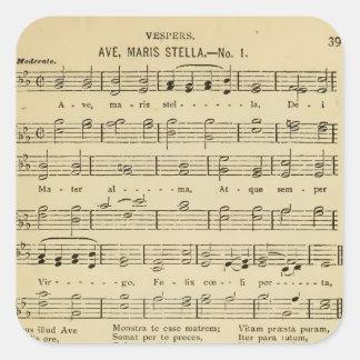 Traditionelle katholische Hymne Allee Maris Stella Quadratischer Aufkleber