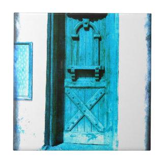 Traditionelle rustikale blaue Tür Santorini Kleine Quadratische Fliese