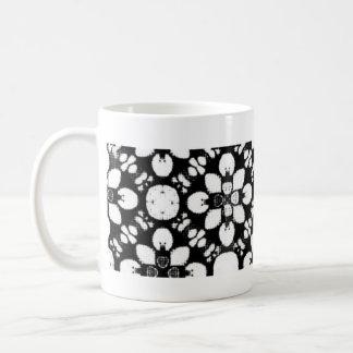 Traditionelle Schwarzweiss-Blume Kaffeetasse