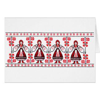 Traditionelle ukrainische Stickereiukraine-Mädchen Karte