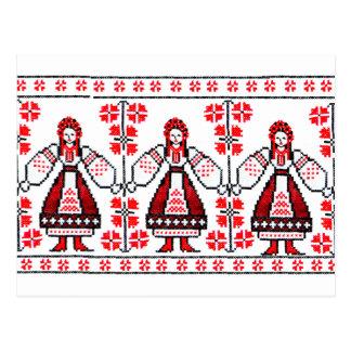 Traditionelle ukrainische Stickereiukraine-Mädchen Postkarte