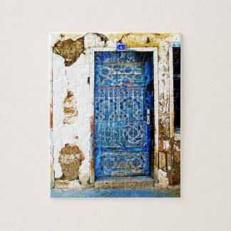Traditionelle Vintage alte Griechenland-Blau-Tür Puzzle
