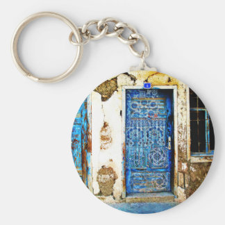 Traditionelle Vintage alte Griechenland-Blau-Tür Schlüsselanhänger