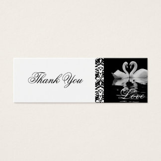 Traditionelle weiße Schwäne danken Ihnen zu Mini Visitenkarte